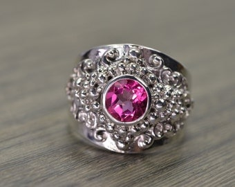 Pink Topaz Ring, silver gold unisex menswear inspired statement - Georgie Ring