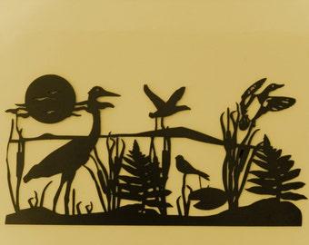 Crane,Metal Art,Seascape Metal Wall Art,Nautical,Seabirds,Marshlands,Gift,Beach