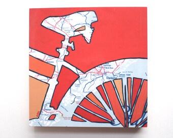 Charleston mounted print - featuring Isle of Palms, Edisto,  Beaufort, Hunting Island, South Carolina bicycle art print mounted to wood