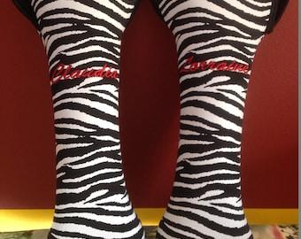 2 Dollars OFF Sale on the last of the Zebra Stripe Custom Embroidered Neoprene Wine Totes