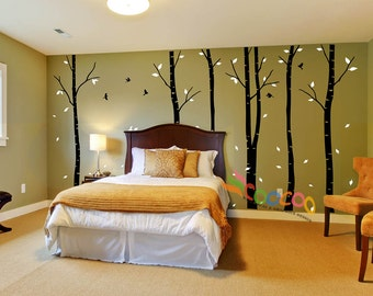"""Wall Decal, wall Stickers ,Tree Wall Decals ,Wall decals, Nursery wall decal, Removable, 96""""H, 2 colors, Birch 6 trees DC0202"""