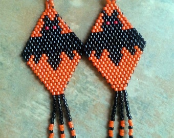 Bonkers the Bat Beaded Earrings/Halloween/Spooky