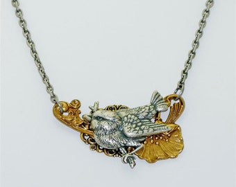 Vintage Victorian Steampunk Art Deco Bird Perched on a Flower Filigree  Pendant Necklace