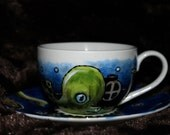 Steampunk octopus cup and saucer Tea / Coffee Hand Painted ceramic kustom goth alternative