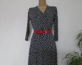 Polka Dots Dress Vintage / Navy / White / Size EUR36 / UK8