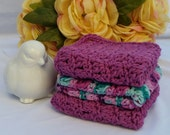 Crocheted 100% Cotton Wash Cloths  Bath/Shower Set of 3 - Hot Orchid and Variegated Hot Orchid & Teals