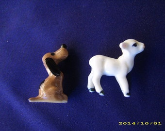 Two (2) Vintage Porcelain Miniature Animals-Dog and Lamb