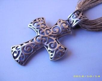 Vintage Sterling Silver Open Cutwork Religious Cross Pendant