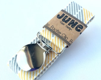 Pacifier Clip, Binky Clip, Paci Clip, Toy Leash in Gray and Yellow Stripes