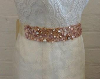 Ladies wedding sash rose gold/sash pink/sequin wedding belt/bridal belt rose pink/bridal sash rose gold/sequin sash rhinestones/handmade