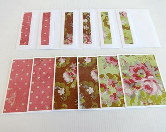 Blank Note Cards, Set of 6 Blank Note Cards with Matching Envelopes, Note Card Set, Note Cards, Elegant Floral
