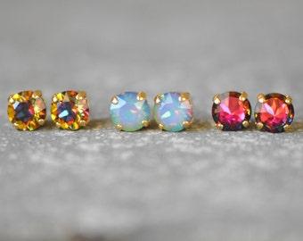 Rainbow Bridesmaid Rainbow Wedding Set of Three Stud Earrings Swarovski Crystal Stud Post Earrings White Opal Jewel Tone Rainbow Bridesmaid