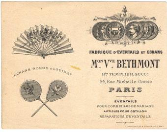 Antique Vintage 19thc French Fan Shop Business Card Paris France Decorative Typography Paper Ephemera