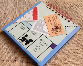 Monopoly notebook, journal; medium sized note pad from recycled game board