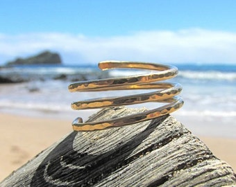 Triple Wrap Ring, Gold, Simple Spiral Coil, Hammered Band, Textured, Handmade, Minimilist, Open Stack, Stacking Rings, Trinity, Gift Idea