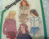 1981 Simplicity 5313 Size 14 Girls Blouses Sewing Pattern Supply Girls Top Pattern Girls Top Girls Shirt Pattern Girls Size 14 Tops ff