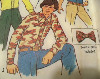 1975 Simplicity 7203 Size 7-8 Boys Shirt and Bow Tie Sewing Pattern Supply Boys Shirt Pattern Boys Bow Tie Pattern Boys Dress Shirt c
