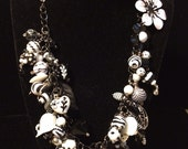 Chunky Bead Charm Necklace in Black & White  with Silvertone Charms