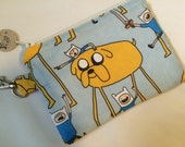 Adventure Time Jake and Finn Small Zippered Pouch, Stocking Stuffer, Adventure Time Gift