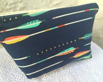 Navy Arrows Small Makeup Bag Cosmetic Bag Knitting Project Bag
