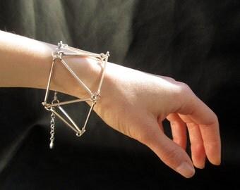 Geometric link bracelet, modern minimalist silver tone geo link bracelet, gift for her
