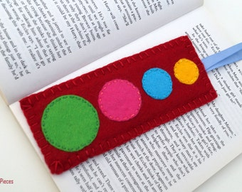 Solar System Felt Bookmark - Red Blue Yellow Turquoise Pink Green Felt Bookmark OOAK Eco-friendly Handmade Bookmark