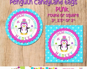 PENGUIN CANDYLAND - PINK - party favour tags -  you print