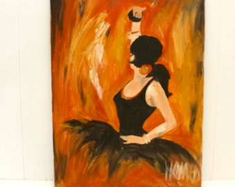 SALE  + FREE SHIPPING! Vintage Original Oil Painting of Spanish Ballerina