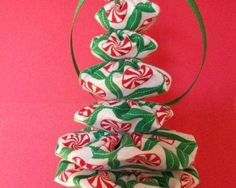 Christmas Yo Yo Fabric Holiday Ornament Peppermint Circles