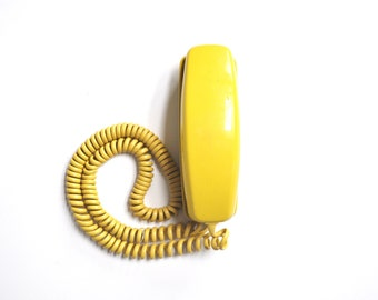 Vintage Yellow Trimline Rotary Telephone
