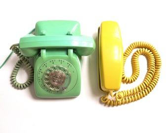 Vintage Yellow Trimline Rotary Telephone
