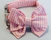 Preppy Pink Sherbet Seersucker Girl Bow Tie Dog Collar, Girl Dog Wedding Collar, Pink Multi Stripe Girl Dog Collar,