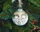 custom portrait ornament - two hand drawn caricatures - glass christmas ornament