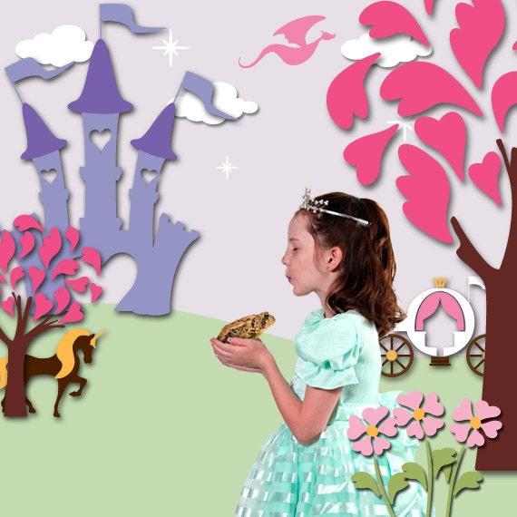 Princess Wall Mural Stencil Kit for Baby Girls Room (stl1007)