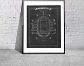 NFL Lambeau Field Football Stadium Print Blueprint on Photo Paper Green Bay Packers Sports Memorabilia Tickets Wall Hanging Art Home Decor