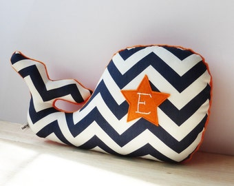 Personalized Nautical Nursery, Whale Pillow, Nursery Decor, navy chevron, navy and orange