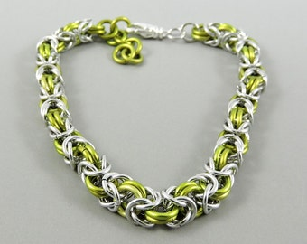 Chainmail Bracelet, Lime Green Silver Chainmaille Bracelet, Chain Mail Jewelry, Byzantine Bracelet