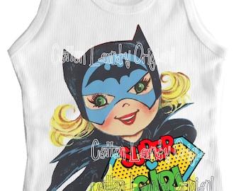 tank tee shirt one piece body suit tshirt Vintage inspired childrens tshirt Super Girl Comic Tee shirt