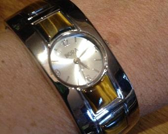 Round Tiger's Eye Bangle Bracelet Watch