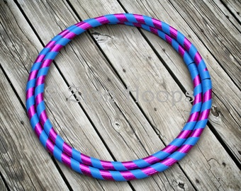 "BUDGET Intermediate collapsible hula hoop // CUSTOM COLORS, tape, and diameter // Adult - Medium weight hoop // ""The 2 taped Basic"""