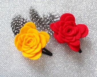 Set of 2 Red and Orange Hair Clips - Orange Flower Hair Clip for Girls - Red Snap Clip - Feather Hair Clip