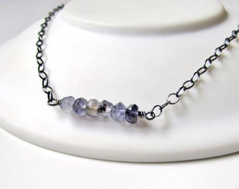 Iolite Bar Necklace Oxidized Water Sapphire Sterling Silver Delicate Minimalist Gemstone Jewelry Ready to Ship