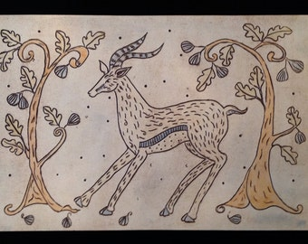 Ceramic plaque with gazelle and figs in porcelain with chocolate brown, orange, blue and light olive for garden or indoor hanging