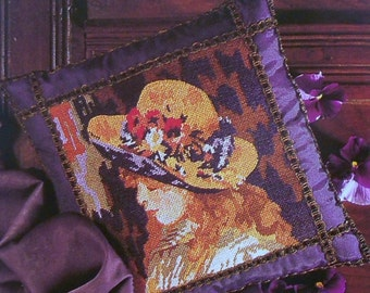 CLEARANCE Pierre Auguste Renoir THE YELLOW Hat Pillow Cushion Impressionism Art Painting Adaptation - Needlepoint Pattern Chart - fab