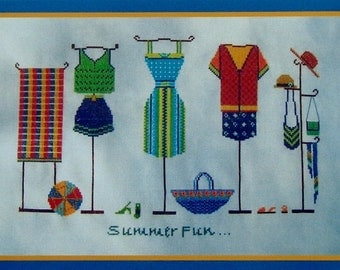 Turquoise Graphics & Designs SUMMER FUN Clothes Clothing - Counted Cross Stitch Pattern Chart