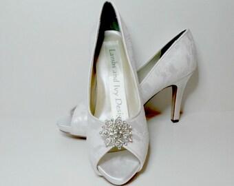 Lace  Wedding Shoes Bridal Shoes Dyeable Crystal and Rhinestone Peep Toe Novia