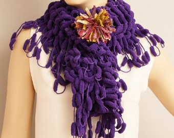 Crochet mulberry  scarf with removable flower pin  ,long crochet scarf ,purple