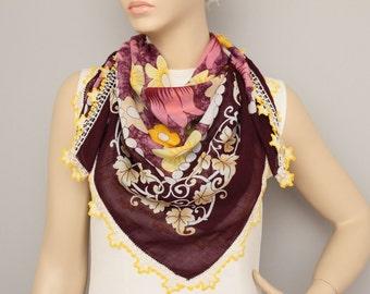 Turkish oya scarf ,Hand crocheted , VINTAGE Yazma scarf , head scarf ,gift idea ,Hijab scarf.summer scarf
