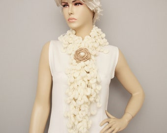 Mulberry scarf  ,Pompom scarf ,cocoon scarf with removable  crochet brooch , ivory,creme
