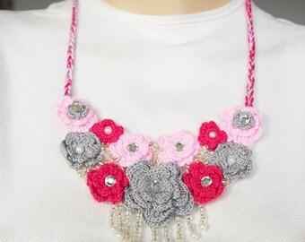 Bib necklace,crochet jewelry ,crochet  bip necklace,crochet necklace, fiber  necklace ,